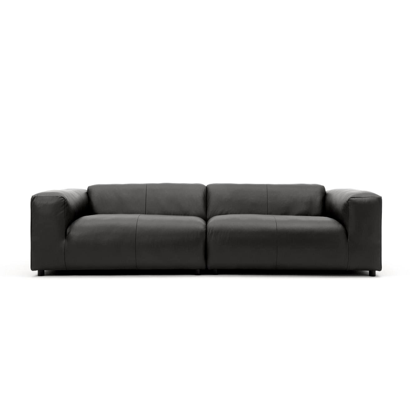 Freistil Rolf Benz 187 3 Seater Leather Sofa 260x67x110cm Black