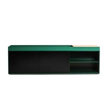 Conmoto - PAD Board / Sideboard 210x65x42cm - patinagrün RAL 6000/schwarz/2 Schiebetüren/6 Fächer/mit Holzablagefläche 30x41cm