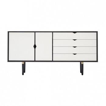 Andersen Furniture - Andersen Furniture S6 Sideboard Fronten weiß - eiche schwarz/alpinoweiß/Eiche schwarz lackiert/B 163 x T 43 x H 80 cm
