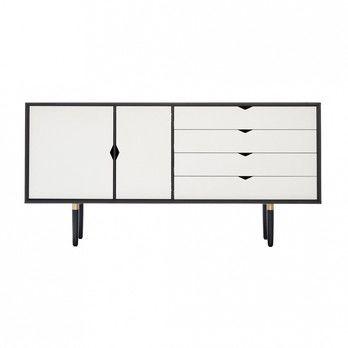 - Andersen Furniture S6 Sideboard Fronten weiß - eiche schwarz/alpino weiß/Eiche schwarz lackiert/B 163 x T 43 x H 80 cm