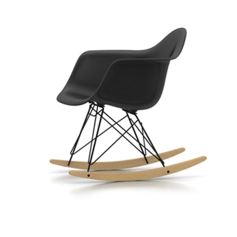 Rar rocking chairs eames style rar rocking arm chair grey - Vitra Eames Plastic Armchair Rar Rocking Chair Basic Dark Black Polypropylene Frame