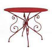 Fermob - 1900 Tisch - mohnrot/lackiert/mit Sonnenschirmloch/Ø96cm