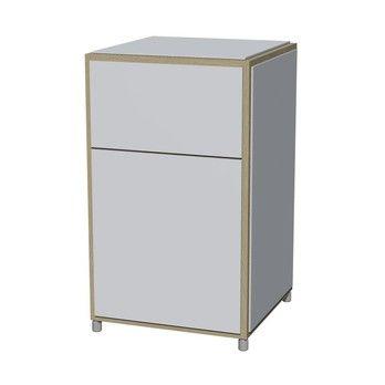 Flötotto - ADD H3 Schränkchen - weiß/Melamin/ Eiche gekalkt/43,7x43,7x72,8cm/2 Schubladen