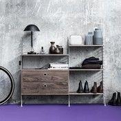 - String Kleiner Wandschrank - nussbaum/Seiten grau/inkl. Wandschrank mit Schubladen/H x B: 115 x 140cm