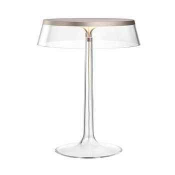 Flos - Bon Jour LED Tischleuchte chrom matt - transparent/Schirm: Kunststoff/H 41cm/ Ø 31,6cm/Gestell transparent/chrom matt