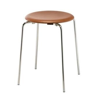 Fritz Hansen - DOT™ Hocker Leder - walnussfarben/Sitzfläche Elegance Leder/H 44cm, Ø 34cm/Gestell Chrom