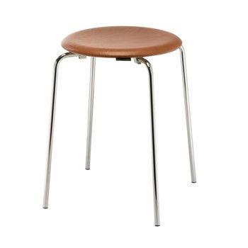 - DOT™ Hocker - walnuss/Sitzfläche Elegance Leder/H 44cm, Ø 34cm/Gestell Chrom