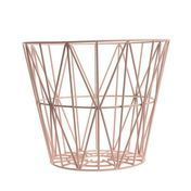 ferm LIVING - Wire Drahtkorb Medium - rosa/Ø 50cm / H 40cm