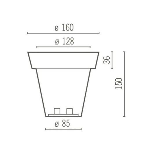 Serralunga - Vas Two Leuchte / Blumentopf L - Strichzeichnung