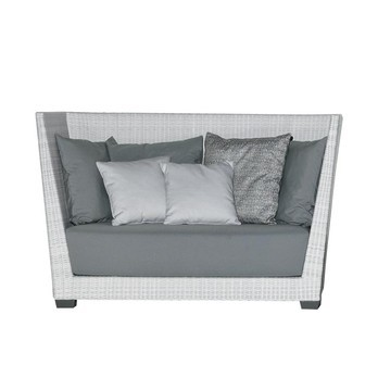 Gervasoni Inout 503 Poly Rattan Outdoor 2 Seater Sofa White Light Grey