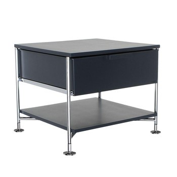 Kartell - Mobil 1+1 Container mit Füßen - schiefer grau/durchgefärbt/Gestell chrom