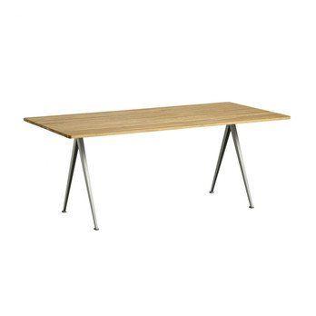 HAY - HAY Pyramid Table 02 Tisch 190x85cm 1956571009000 - eiche/klar lackiert/Gestell beige pulverbeschichtet/H 74cm