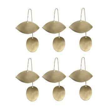 - ferm LIVING Twin Eye Brass Ornament 6er-Set 6x 24221 - messing/BxH 6.5x11.5cm