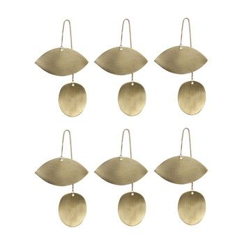 - ferm LIVING Twin Eye Brass Ornament 6er-Set 6x 24221 - messing/BxH 6.5x11.5cm