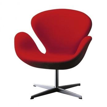 Fritz Hansen - Swan Chair / Der Schwan Sessel Stoff - rot/Stoff Divina 623/Gestell aluminium/ohne Rückholmechanik