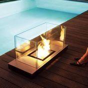 Radius - Uni Flame Feuerstelle - schwarz / 99x40x46cm/Stahl gepulvert
