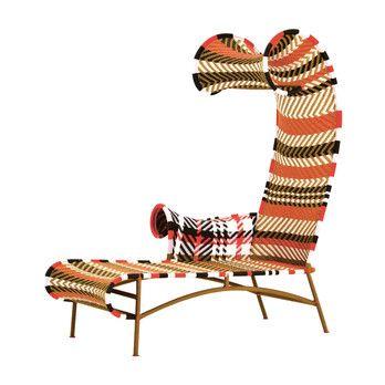 Moroso - Shadowy Chaiselounge - rot/gold afrikanisch/schwarz/blau/handgeflochten/Armlehne rechts/Fußgleiter aus PVC/87x160x150cm/Gestell Stahl lackiert