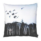 by nord - Sharp Trees & Birds Cushion 60x60cm - black/white/washable at 30 °/incl. feather filling
