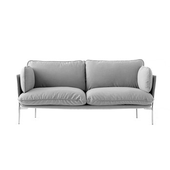 &tradition - Cloud LN2 Sofa 2-Sitzer - hellgrau/Stoff Steelcut trio 133/BxHxT 168x75x84cm/Füße Chrom