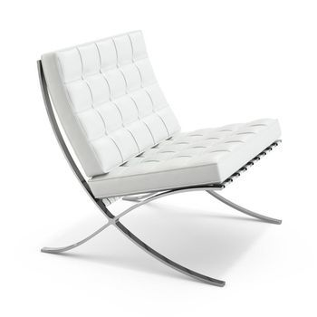 Knoll International - Barcelona Sessel - weiß/Gestell chrom/Leder Volo785