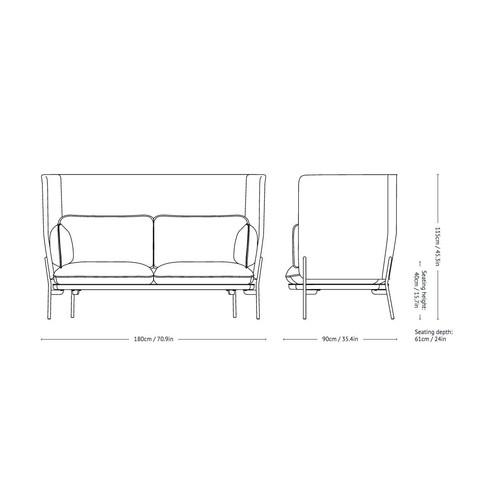 &tradition - Cloud High Back LN6 Sofa mit hohem Rücken - Strichzeichnung