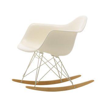 Vitra - Eames Plastic Armchair RAR Schaukelstuhl - creme/Sitzschale Polypropylen/Gestell Farbe elfenbein/Kufe Ahorn gelblich/Limitierte Edition 2017