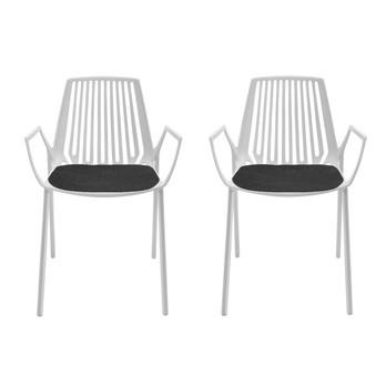 Fast - Rion Outdoor Sessel Set 2 Stück - weiß/pulverbeschichtet/Inkl. 2 Auflagen anthrazit