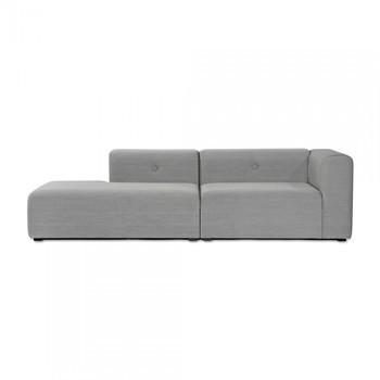 HAY - Mags Lounge Sofa 246.5x127.5cm - hellgrau/Beine schwarz/Stoff Steelcut Trio 133/mit Knöpfe/Armlehne rechts