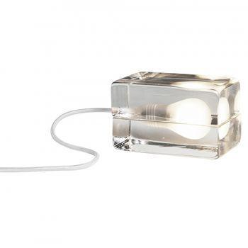DesignHouseStockholm - Block Lamp LED Tischleuchte - transparent/Textilkabel weiß