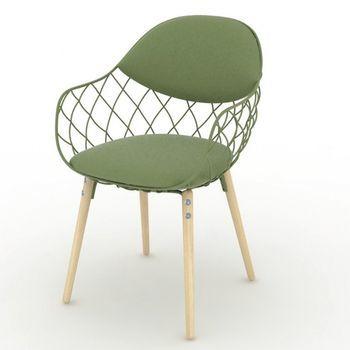 Magis - Piña chair - fabric - green/cushion green/lacquered/legs beech natural