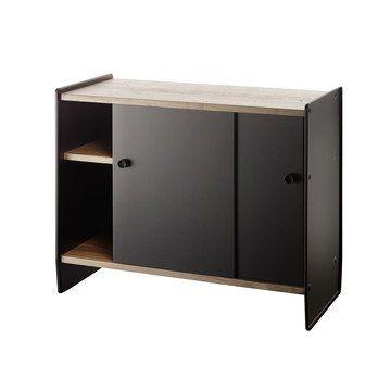 Magis - Theca Sideboard - schwarz/eloxiert/Einlegeböden Kirschbaum natur/H x B x T: 78 x 93 x 43m