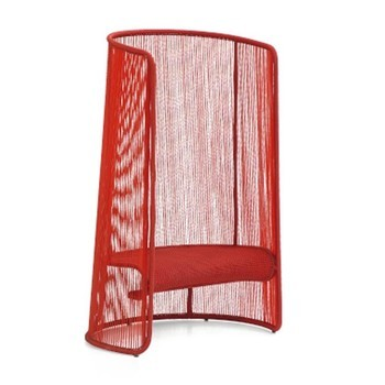 Moroso - Husk L Sessel - rot/handgeflochten/Fußgleiter verstellbar aus Polypropylen/100x140x70cm/Gestell Stahl lackiert
