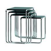 Thonet - Thonet B9 Side Table Set - black/ frame chrome/MDF/4 tables B 9a, b, c, d