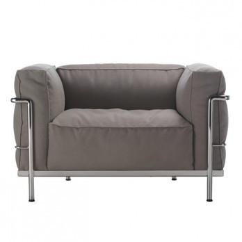 Cassina - Le Corbusier LC3 Outdoor Sessel - taupe/Stoff Outdoor Sunbrella Sling/Gestell stahl glänzend gebürstet/Inkl. Schutzhülle für den Winter!