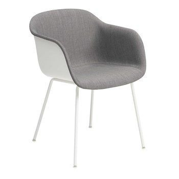 Muuto - Fiber Armlehnstuhl teilgepolstert Rohrgestell - weiß/grau/Sitzfläche Remix 133/BxHxT 54,5x76,5x67,5cm/Gestell Edelstahl pulverbeschichtet weiß