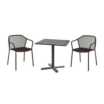 emu - Darwin Gartenset - schwarz/pulverbeschichtet/2 Stühle : BxHxT 60x77x55cm/Tisch: LxBxH 80x80x74cm