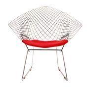 Knoll International - Bertoia Diamond Sessel - chrom/glänzend/Kissen rot Tonus 130/mit Sitzkissen