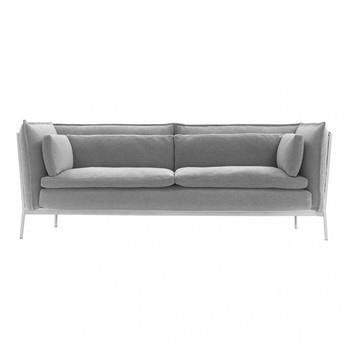Cappellini - Basket Bouroullec 2-Sitzer Sofa 190x90cm - Stoff Cotone Unito 23A grau/Gestell weiß/Bezug abziehbar