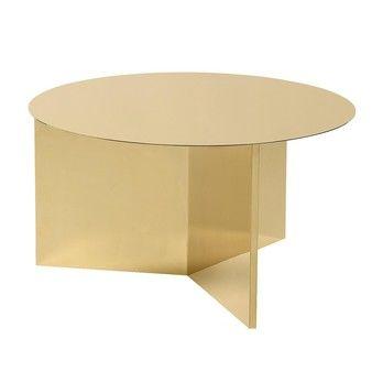 HAY - Slit Table XL Beistelltisch - messing/poliert/H 35.5cm/Ø65cm