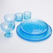 iittala - Kastehelmi Candlelight-Dinner-Set 8tlg. - hellblau/2 Windlichter/2 Platzteller//2 flache Teller/2 Dessertschälchen