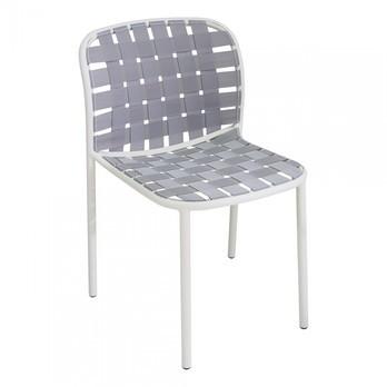 emu - Yard Gartenstuhl - weiß grau/weiß/Sitz elastische Gurte weiß grau/BxHxT 51x81x57cm/Gestell aluminium weiß