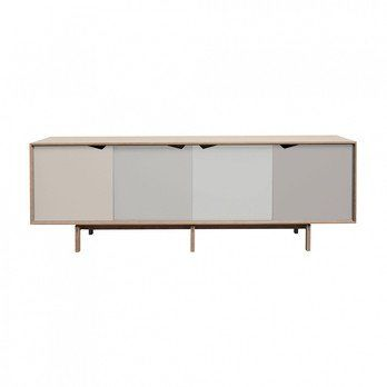 Andersen Furniture - Andersen Furniture S1 Sideboard Türen bunt - Doeskin, Iron, Silver, Iron/Eiche geseift/L 200 x T 50 x H 68 cm