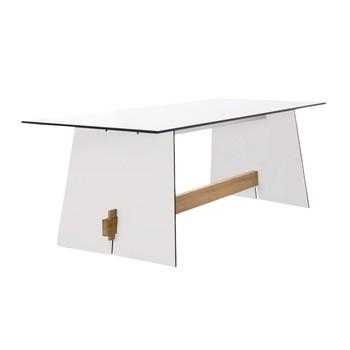 Conmoto - Tension Outdoor Tisch - weiß/Kante schwarz/teak/H73 x B220 x T90 cm