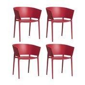 - Africa Armlehnstuhl 4er-Set - rot/matt/H x B: 75 x 58cm/für Innen- und Außenbereich geeignet