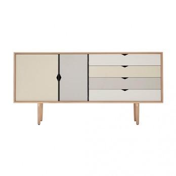 Andersen Furniture - Andersen Furniture S6 Sideboard Fronten bunt - silberweiß/beige/metallgrau/eiche geseift/B 163 x T 43 x H 80 cm