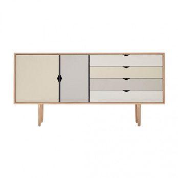 - Andersen Furniture S6 Sideboard Fronten bunt - silberweiß/beige/metallgrau/eiche geseift/B 163 x T 43 x H 80 cm