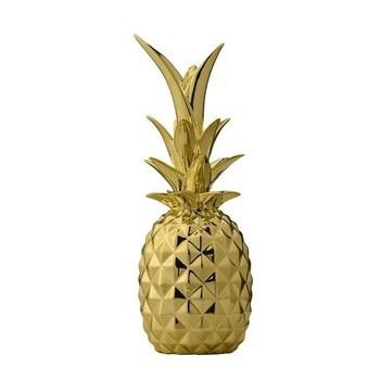 Bloomingville - Bloomingville Dekoobjekt Ananas  - gold/glänzend/Ø9xH24 cm
