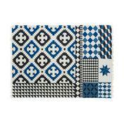GAN - Kilim Palermo - Alfombra - azul//negro/nature/Talla 1/150x200cm
