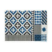 GAN - Kilim Palermo Teppich - blau/schwarz/natur/150x200cm
