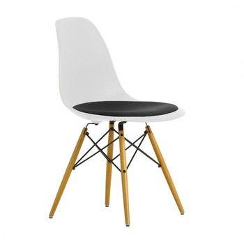 Vitra - Eames Plastic Side Chair DSW gepolstert H43cm - weiß/dunkelgrau/Sitzpolster Hopsak/Gestell Ahorn gelblich/neue Höhe